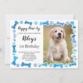 Blue Paw Prints Bones Puppy Dog Birthday Invitation