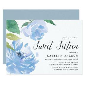 Blue Peony   Sweet Sixteen Invitation