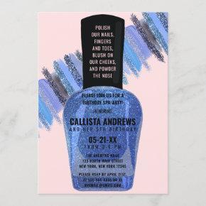 Blue Pink Glitter Nail Polish Spa Day Birthday Invitation