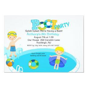 Blue Pool Party Boys Birthday Invitations