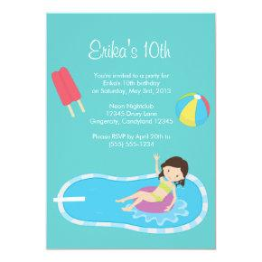 Blue Pool Party Invitations