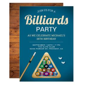 Blue Pool Table Billiards Snooker Birthday Party Invitation