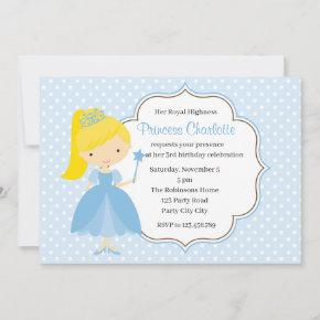 Blue Princess Birthday Invitation Pastel Polka Dot