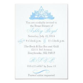 Blue Princess Sweet Sixteen Invitations