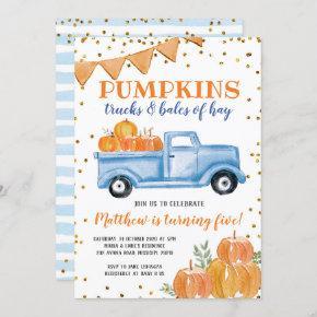 Blue Pumpkin Truck Birthday Invitation