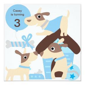 Blue Puppy Dog Custom Birthday