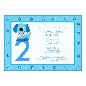 BLUE PUPPY Paw Print Birthday Invitation