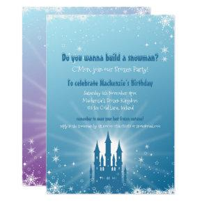 Blue & Purple Frozen Castle Party Invitation