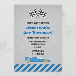 Blue Race Car Birthday Party Invitation