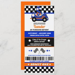 Blue Race Car Ticket Style Birthday Party Invitation