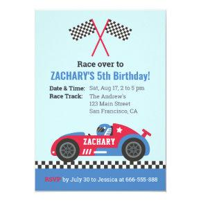 Blue Racing Car Kids Birthday Party Invitation