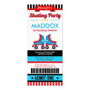 Blue Roller Skate Sport Ticket Pass Birthday Invitation
