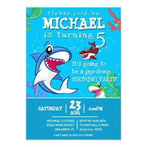 Blue Shark Cute Kids Birthday Pool Party Invitation