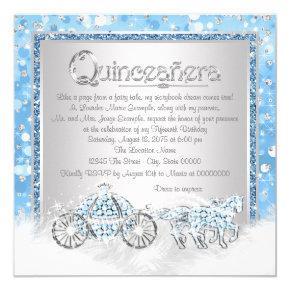 Blue Silver Cinderella Princess Quinceanera Invitations