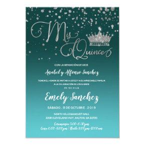 Blue Silver Confetti Mis Quince Anos Spanish Photo Invitation