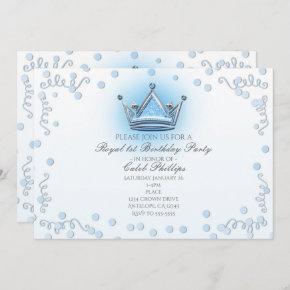 Blue & Silver Crown Party Confetti Invitation