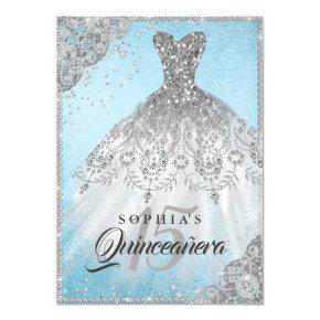 Blue Silver Diamond Lace Sparkle Gown Quinceanera Invitation