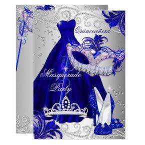 Blue Silver Dress masquerade Quinceanera Invite