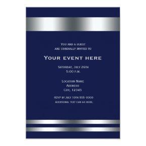 Blue Silver Elegant Dinner Party Event Invitation