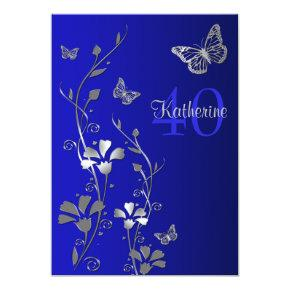 Blue, Silver Flowers & Butterflies 40th Birthday Invitation