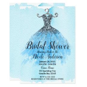 Blue & Silver Glitter Sparkle Dress Bridal Shower Card