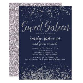 Blue Silver Glitter Sweet 16 Invitation