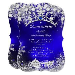 Blue silver Quinceanera 15th Winter Wonderland Invitation