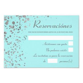 Blue Silver Spanish Reservacion, Quinceanera RSVP Invitation