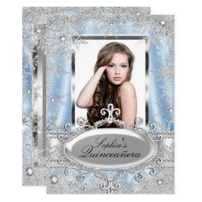 Blue Silver Sparkle Jewel Snowflake Quinceanera Invitations