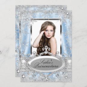 Blue Silver Sparkle Jewel Snowflake Quinceanera Invitation