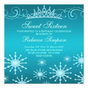 Blue Snowflake & Tiara Design Birthday Invitations