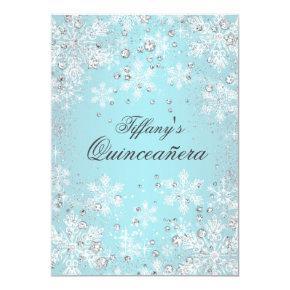 Blue Snowflake Winter Wonderland Quinceanera Invitation