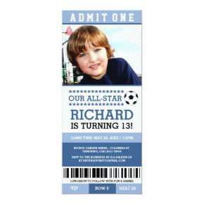 Blue Soccer Ticket Birthday Invites