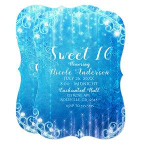 Blue Sparkling Frozen Ice Sweet 16 Birthday Party Card