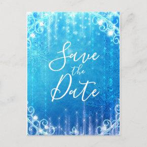 Blue Sparkling Frozen Ice Winter Save the Date Announcement Post