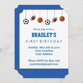 Blue Sports Birthday Invitation