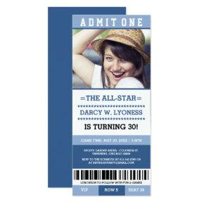 Blue Sports Ticket Birthday Party Invites
