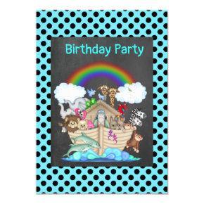 Blue SPOT NOAHS ARK Zoo animal party Invitation