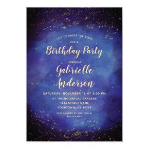 Blue Star Sky Celestial Birthday Party Invitation