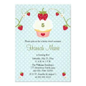 Blue Strawberry Cupcake Birthday Photo Invitation