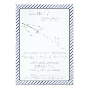 Blue Striped Paper Airplane Birthday Invite