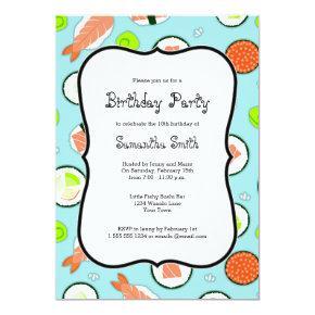 Blue Sushi Theme Birthday Party Invitations
