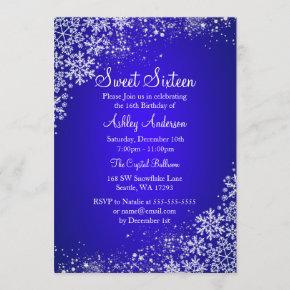 Blue Sweet 16 Winter Wonderland Sparkle Snowflakes Invitation