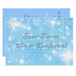 Blue Sweet Sixteen Invitation Winter Wonderland