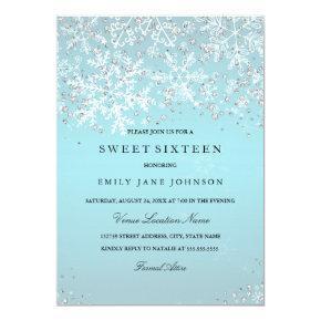 Blue Sweet Sixteen Winter Wonderland Snowflakes Invitation