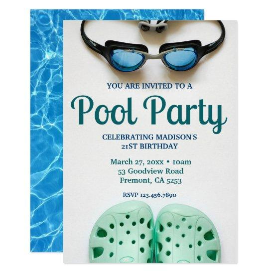Blue Swimming Goggles Birthday Pool Party Invitations
