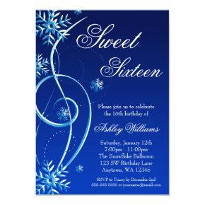 Blue Swirl Winter Wonderland Sweet 16 Invitations