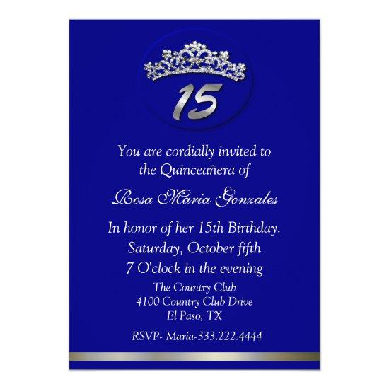 Blue Tiara Quinceanera Invitation Candied Clouds