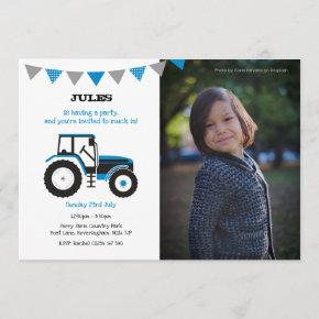 Blue Tractor Birthday Party Invite With Photo