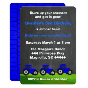 Blue Tractor Chalkboard Birthday Invitations